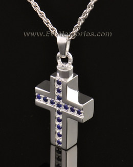 14k White Gold Indigo Cross Memorial Locket
