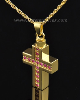 Gold Plated Spiritual Cross Memorial Locket