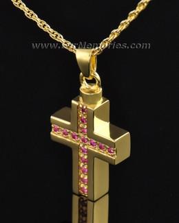Gold Plated Spiritual Cross Memorial Locket