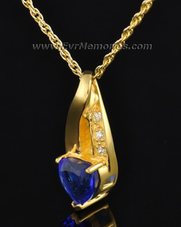 Gold Plated Deep Blue Heart Memorial Locket
