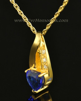 14k Gold Deep Blue Heart Memorial Locket