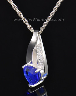 Sterling Silver Deep Blue Heart Memorial Locket