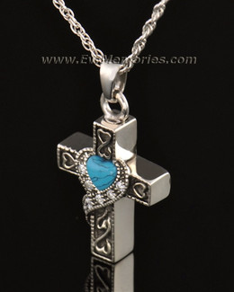 14k White Gold Loving Cross Memorial Locket