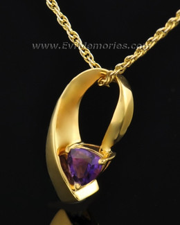 Gold Plated Vibrant Violet Memorial Locket