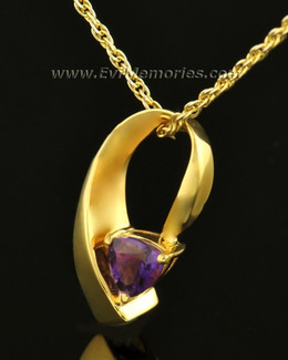 14k Gold Vibrant Violet Memorial Locket