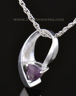 14k White Gold Vibrant Violet Memorial Locket