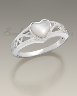 Mother of Pearl Women's Caring Heart Ring Jewelry Urn