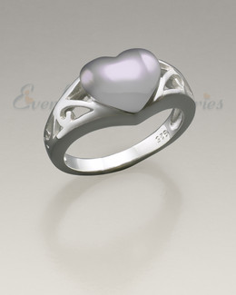 Sterling Silver Women's Caring Heart Ring Jewelry Urn