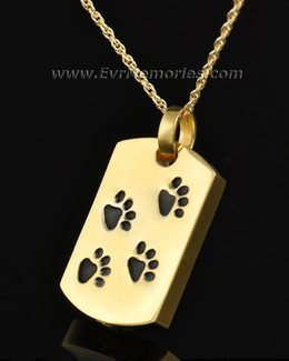 Gold Plated Walking Along Rectangle Pet Urn Pendant