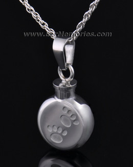 Stainless Steel Pitter Pat Round Pet Jewelry Urn