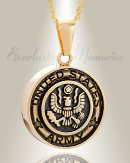 Gold Plated Army Medal Pendant Keepsake