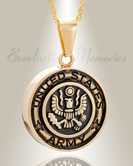 Gold Plated Army Medal Pendant Keepsake