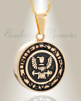Gold Plated Navy Medal Pendant Keepsake