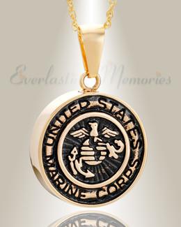 Gold Plated Marines Medal Pendant Keepsake