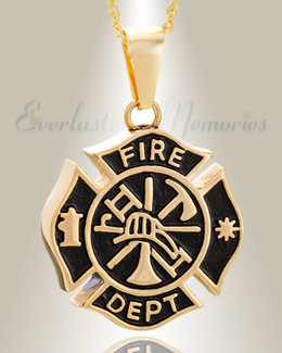 Gold Plated Fire Department Shield Pendant Keepsake