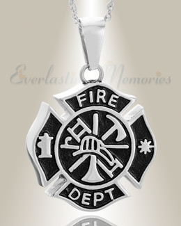 Stainless Steel Fire Department Shield Pendant Keepsake