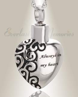 Stainless Steel Attentive Heart Pendant Keepsake