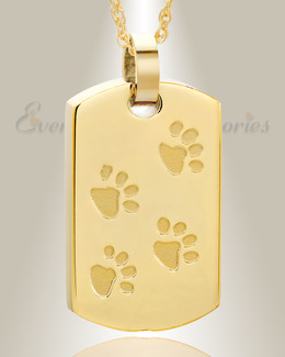 Gold Plated Walking Along Rectangle Pet Memorial Locket