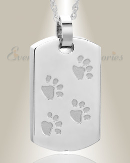 Stainless Walking Along Rectangle Pet Memorial Locket