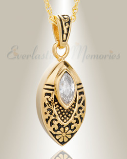 Gold Plated Ornamental Teardrop Pendant Keepsake