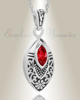 Stainless Steel Ornamental Teardrop with Red Stone Pendant Keepsake