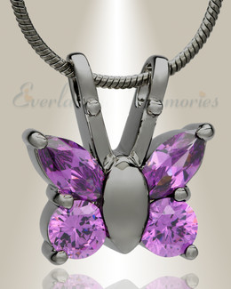 Black Plated Violet Jeweled Butterfly Memorial Jewelry
