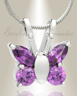 Violet Jeweled Butterfly Memorial Jewelry