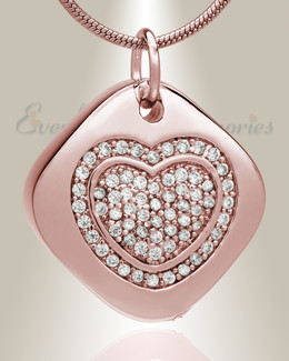 Rose Gold Plated Designer Heart Memorial Jewelry