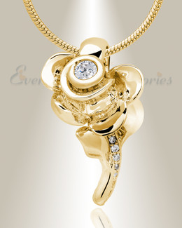 Gold Plated Radiant Rose Memorial Jewelry