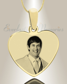 Heart Photo Engraved Gold Plated over Stainless Keepsake
