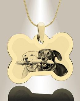 Bone Photo Engraved Gold Plated Pet Keepsake