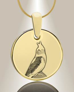 Round Photo Engraved Gold Plated over Stainless Pet Keepsake
