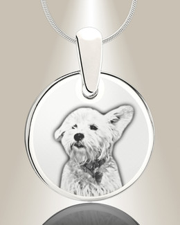 Round Picture Engraved Silver Pet Keepsake