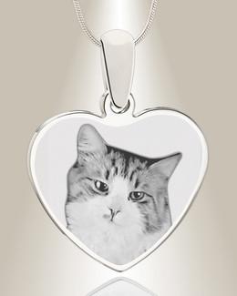 Heart Photo Engraved Silver Pet Keepsake
