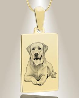 Rectangle Photo Engraved Gold Plated Pet Keepsake