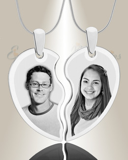Double Picture Engraved Heart Silver Pendant
