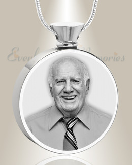 Round Stainless Steel Photo Engraved Ash Pendant