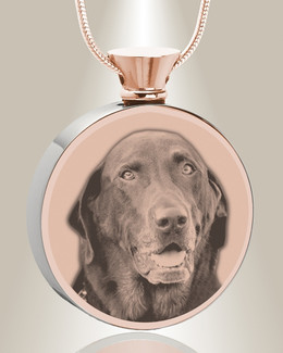 Round Rose Gold Plated Photo Engraved Pet Ash Pendant