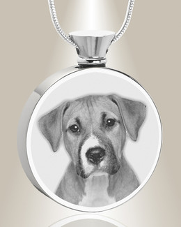 Round Stainless Steel Photo Engraved Pet Ash Pendant