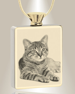 Rectangle Gold Plated Photo Engraved Pet Ash Pendant