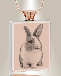 Rectangle Rose Gold Plated Photo Engraved Pet Ash Pendant