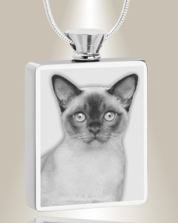 Rectangle Stainless Steel  Photo Engraved Pet Ash Pendant
