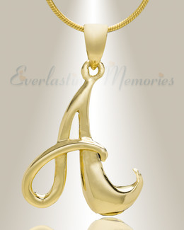 "Gold ""A"" Initial Cremation Jewelry"