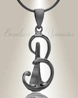 "Black ""B"" Initial Cremation Jewelry"