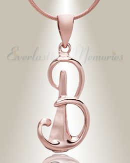 "Rose Gold ""B"" Initial Cremation Jewelry"