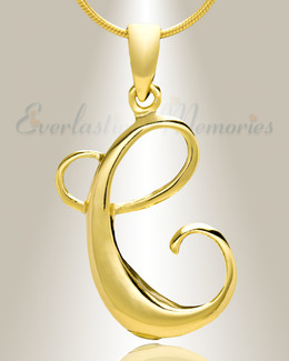 "Gold ""C"" Initial Cremation Jewelry"