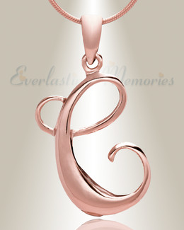 "Rose Gold ""C"" Initial Cremation Jewelry"
