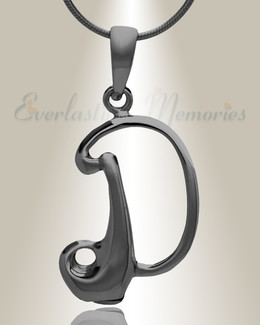 "Black ""D"" Initial Cremation Jewelry"