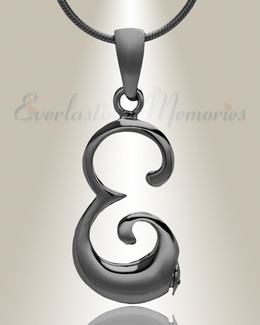 "Black ""E"" Initial Cremation Jewelry"