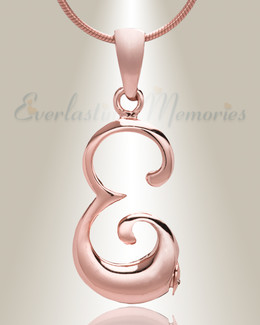"Rose Gold ""E"" Initial Cremation Jewelry"